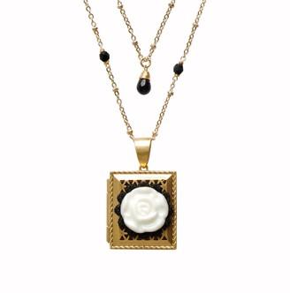 Poporcelain Vintage Style Porcelain Moonlight Rose Locket Necklace
