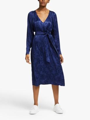 Just Female Animal Jacquard Dress, Medieval Blue