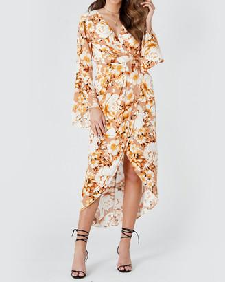 Amelius Golden Flower Midi Dress