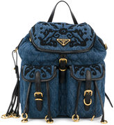 Prada embroidered denim backpack