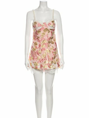For Love & Lemons Floral Print Mini Dress Pink