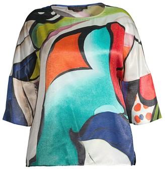 Marina Rinaldi, Plus Size Bellezza Abstract Satin Blouse