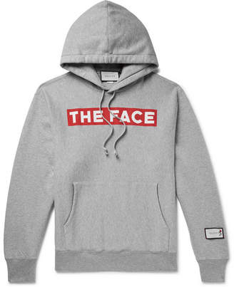 Gucci + The Face Oversized Logo-Print Melange Loopback Cotton-Jersey Hoodie