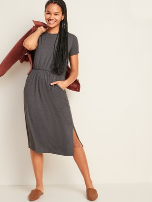 Old Navy Waist-Defined Slub-Knit Midi T-Shirt Dress for Women