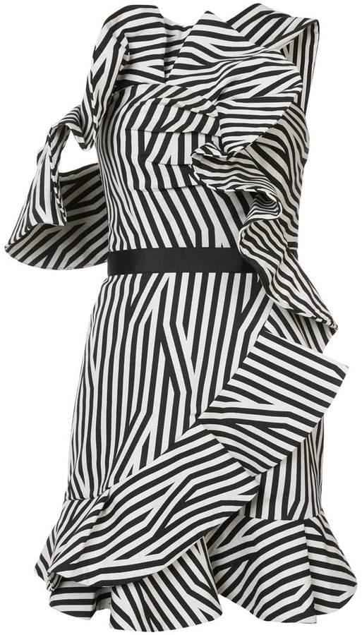 Self-Portrait striped frill embellished dress