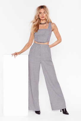 Nasty Gal Womens Grey High-Waisted and Wide Leg Pants