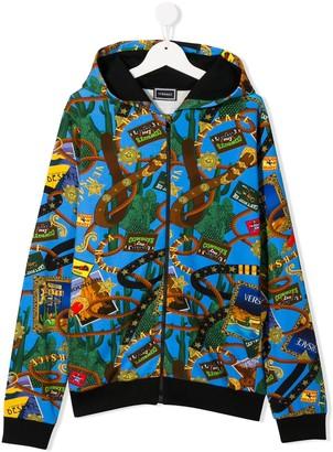 Versace TEEN stamp-print hoodie