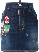 DSQUARED2 Patch applique denim mini skirt - women - Cotton/Spandex/Elastane - 36