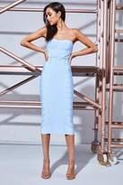 boohoo Premium Niamh Corset Waist Bandage Midi Dress cornflower