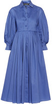 Vika Gazinskaya Pintucked Pleated Cotton-poplin Midi Dress - Blue