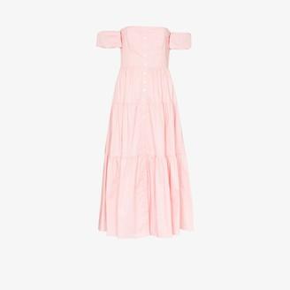 STAUD Elio tiered cotton midi dress