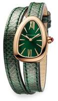 Bvlgari Serpenti 18K Pink Gold & Green Karung Strap Watch