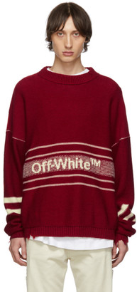 Off-White Off White SSENSE Exclusive Red Logo Sweater