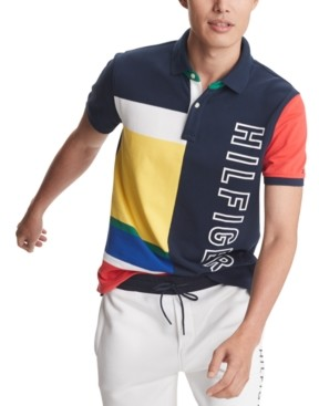 Tommy Hilfiger Men's Big & Tall Hughes Custom-Fit Colorblocked Logo-Print Polo Shirt