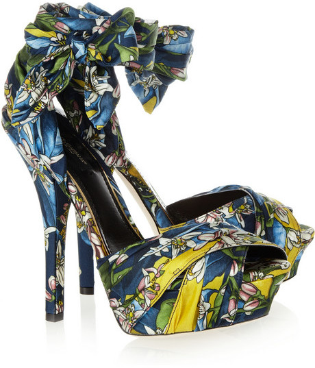 Dolce & Gabbana Printed satin sandals