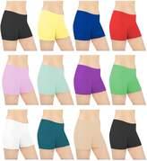 Sexy Basics Womens 6 Pack Cotton Spandex Sheer Mini Bike Yoga Boyshort Boxer Brief(Size:L/7)