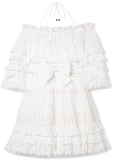 Zimmermann Corsair Off-the-shoulder Tiered Broderie Anglaise Cotton Mini Dress - White