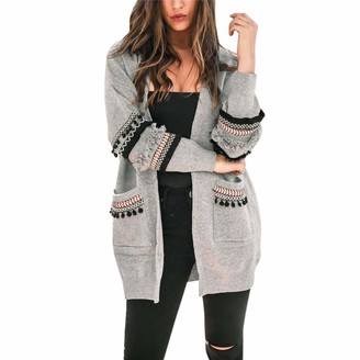 MISSMAO Womens Open Front Long Sleeve Chunky Cable Knit Long Cardigans Sweater with Pockets Light Grey 2XL