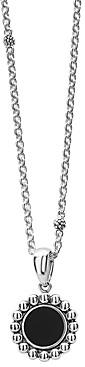 Lagos Sterling Silver Maya Black Onyx Circle Pendant Necklace, 18