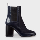 Paul Smith Women's Navy Leather And Calf Hair 'Deva' Boots