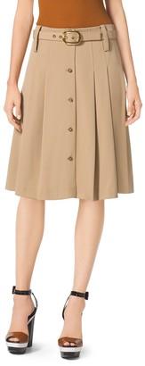 Michael Kors Pleated Wool-Gabardine Skirt