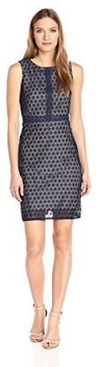 Gabby Skye Women's Sleeveless Round Neck Lace Shift Dress