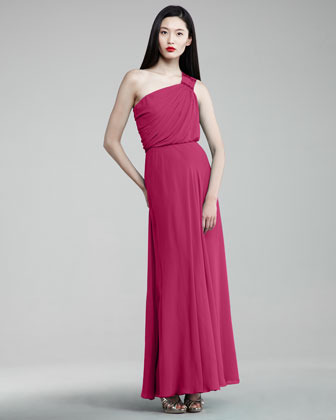 Aidan Mattox One-Shoulder Cinched Gown