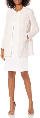 Le Suit LeSuit Women's Jewel Neck Open Topper with Sleeveless Sheath Dress Mini Houndstooth Suit