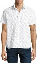 Neiman Marcus Mini Diamond-Print Short-Sleeve Shirt, White
