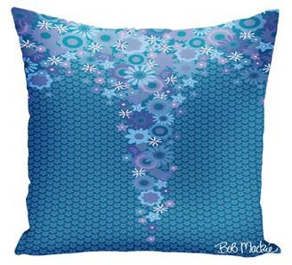 """Bob Mackie Blue Purple Flower Waterfall Indoor / Outdoor Floral Pillow Size: 20"""" x 20"""""""