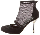 Christian Dior Satin Mesh-Trim Ankle Boots