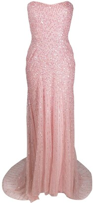 Jenny Packham Sequin-Embellished Strapless Gown