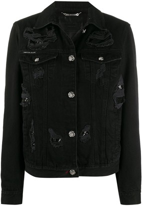 Philipp Plein Rear-Printed Distressed Denim Jacket