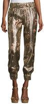 Haney Collette Metallic Floral Jogger Pants, Gold
