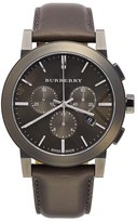 Burberry Men's Check Stamped Chronograph Leather Strap Watch, 42Mm