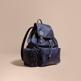 Burberry The Extra Large Rucksack In Technical Nylon And Leather, Blue