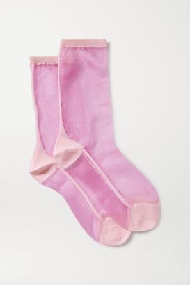 Maria La Rosa Golf Two-tone Tulle Socks - Pink