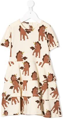 Mini Rodini unicorn-print tiered-frill dress