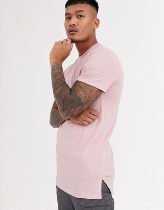ASOS DESIGN longline t-shirt with crew neck and side splits in pink