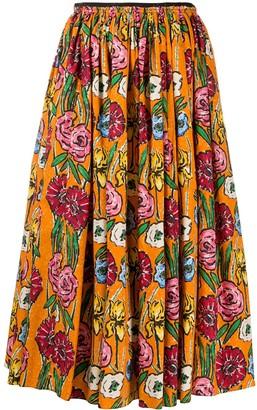 Marni floral-print A-line skirt