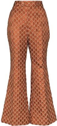 Gucci Jacquard monogram flared trousers