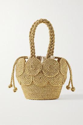 MEHRY MU Cha Cha Mini Metallic Woven Tote - Gold