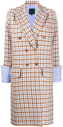 Jejia Double-Breasted Check Blazer Coat