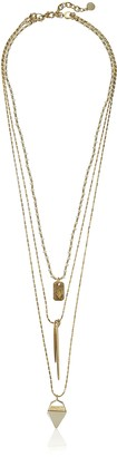 Vince Camuto Detachable Gold/Natural/Ivory Triple Layer Spike Necklace