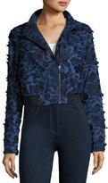 Elie Tahari Suri Floral-Appliqué; Chambray Bomber Jacket, Dark Blue