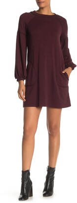 Max Studio Topstitched Puffy Sleeve Sweater Dress