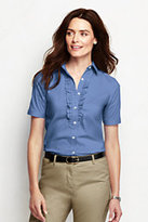 Classic Women's Regular Short Sleeve Ruffle Stretch Shirt-True Navy