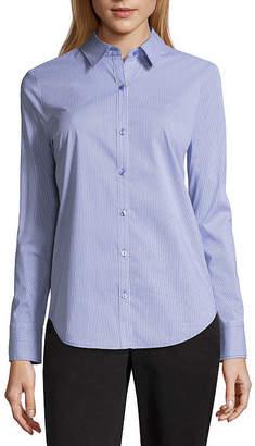 WORTHINGTON Worthington Long Sleeve Essential Shirt - Tall