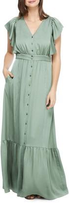 Gal Meets Glam Button Front Satin Maxi Dress