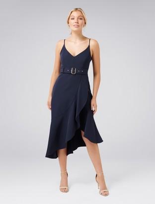 Forever New Isabella Petite Belted Ruffle Hem Dress - Navy - 14
